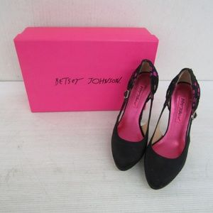 Betsey Johnson Neely Pink and Black Heels